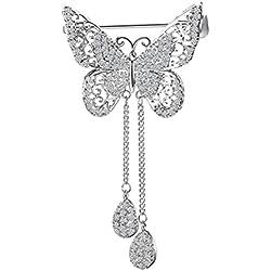 BESTOYARD Broche Broche de mariposa Esmalte Pin Tassel Hollow Dangle Zircon Breastpin para mujeres y hombres (Plata)