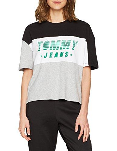 Tommy Jeans Damen Color Block Racing Logo  Kurzarm  T-Shirt Blau (Tommy Black / Multi 903) X-Large -
