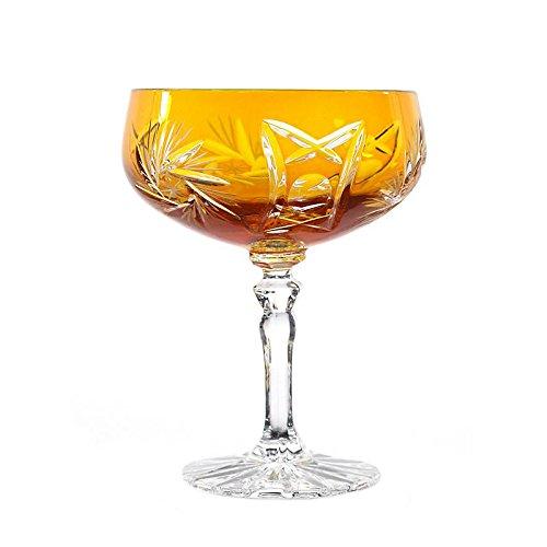 """Sektglas, Sektschale, Sektkelch """"SCHLEUDERSTERN"""", 200ml, gelb, handgeschliffen, Bleikristall Glas, moderner Style (GERMAN CRYSTAL powered by CRISTALICA)"""