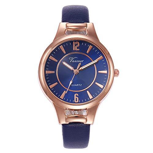 Lazzgirl Vansvar Damen Casual Quarz Lederband Newv Armbanduhr Analoge Armbanduhr(D,One Size)