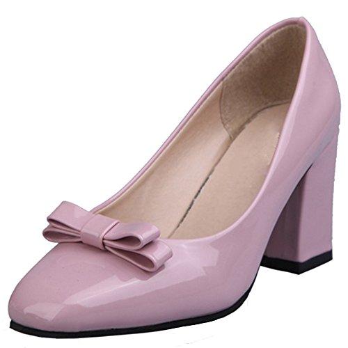 TAOFFEN Femmes Escarpins Mode Bloc Talons Hauts A Enfiler Soiree Chaussures De Bowknot Rose
