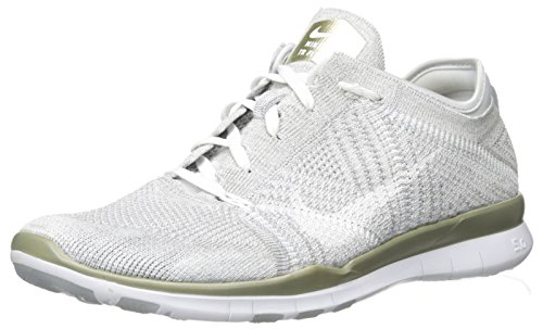 Nike Damen Wmns Free Tr Flyknit Mtlc Gymnastikschuhe Plateado (Pr Platinum / White-Mtlc Gld Str)