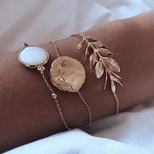 YDXJJ Armband Böhmen Legierung Mehrschichten Gold Silber Perlen Pailletten Set Armband Für Frauen Schmuck Fußkette Fußkettchen Zubehör Geschenk