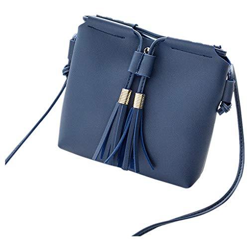 Dorical Damen Messenger Umhängetasche Damen Quaste Kleine Handtasche Crossbody Beuteltasche Handytasche Kuriertasche Tragetasche Taschen Handtaschen Stylische Tote Bag für Frauen(Blau)