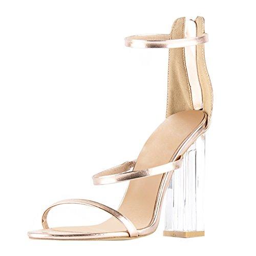 Damen Sandalen Open Toe Lackleder High-Heels Blockabsatz Knöchelriemchen Gold