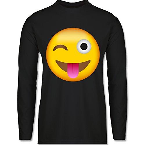 Comic Shirts - Emoji Herausgestreckte Zunge - Herren Langarmshirt Schwarz