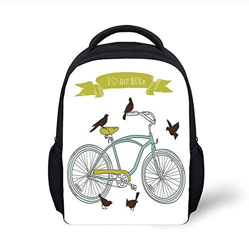 Kids School Backpack Bicycle,I Love My Bike Concept with Birds on The Seat Cruisers Basic Vehicle Simplistic Art,Green Blue Plain Bookbag Travel Daypack (Cool Cruiser-bikes)