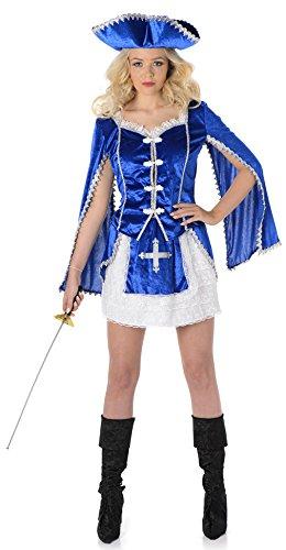 Musketier Mädchen Damen verkleiden sich mittelalterlichen Buch Tag Woche Damen Erwachsene Kostüm (Musketiere Kostüm Für Mädchen)