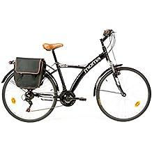 "Moma Bikes Bicicleta Paseo Hibrida SHIMANO 18 vel. Aluminio, ruedas de 26"", suspension"