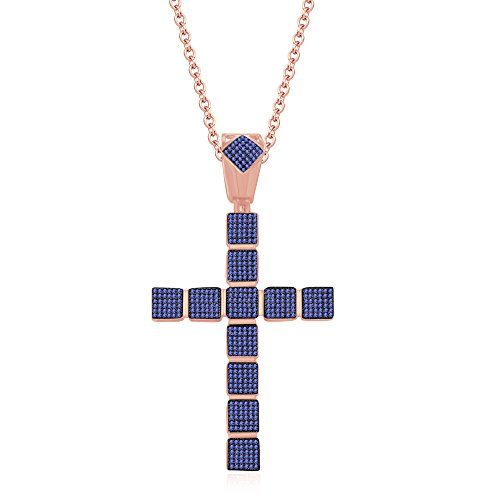 silvernshine Jewels 1,25ct rund Tansanit Kreuz Anhänger 45,7cm Kette Halskette in 14K Rose Gold FN (Tansanit Kreuz Halskette)