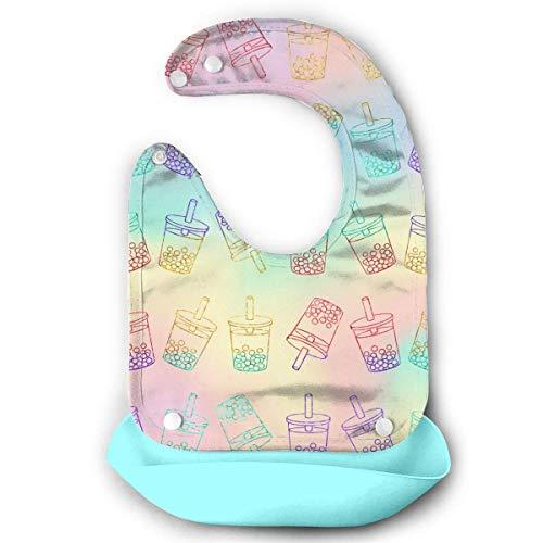 Sweet Bubble Tea Rainbow Bavoirs en silicone imperméable pour bébé avec poche