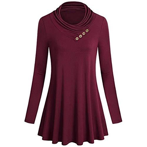 iYmitz Damen Knopf Langarm T-Shirts beiläufige Lose Oberseiten Tunika Bluse(Rot,L)