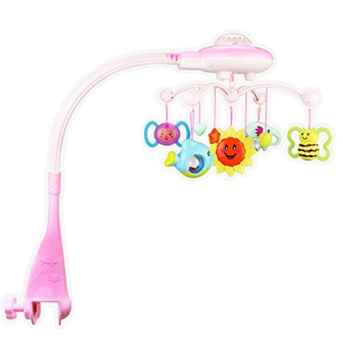FongFong Musik Mobile Spieluhr-Mobile Cartoon Kinderbett Aufhängen Bell Baby Bett Bell Sound Spielzeug Baby Krippe Bell Musik pädagogisches Spielzeug Mobile mit Musik für Kinderbett Rosa