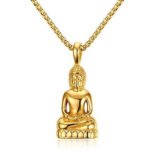 Onefeart Vergoldet Anhänger Halskette zum Damen Herren Buddha Statue Gestalten Anhänger mit Kette 52x22.5MM Gold