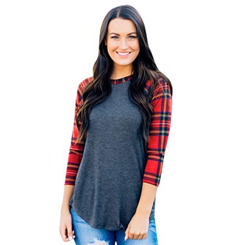 Damenmode grau einfaches Kariertes Nähte Langarm-Shirt T-Shirt 7 Punkte Ärmel