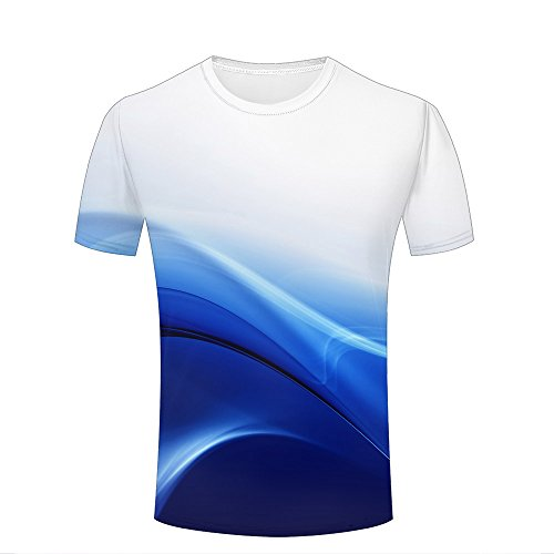 Mens Novelty 3D Print Blue and White Gradient Rays Pattern Casual Short Sleeve T-Shirts Fashion Couple Tees L