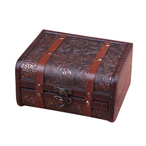 Rétro Boîte En Bois Européenne,Sensail Boîte de rangement de bijoux décoratifs bijou Boîte de trésor en bois faits main vintage (C, 15 x 12 x 8cm)
