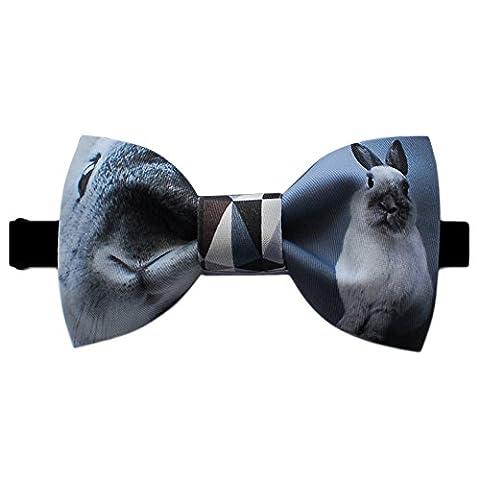 Conception Cravate Lapin Textile Printing Noeud Papillon (Gris Noir Blanc)