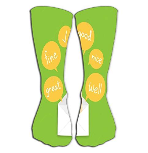 No Soy Como Tu Hohe Socken Outdoor Sports Men Women High Socks Stocking You got Mail Concept idea Good Hand Sign Language pop up Mail Text Box Isolated Green Color Little Tile Length 19.7