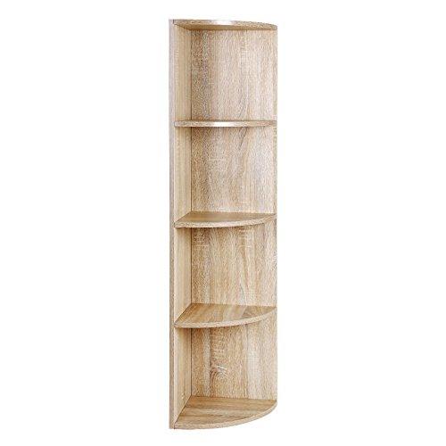 SONGMCS 4 Ebenen Eckregal, Standregal, Bücherregal aus Holz, für Küche, Schlafzimmer, Wohnzimmer, Büro, Farbton Eiche, LBC42NL