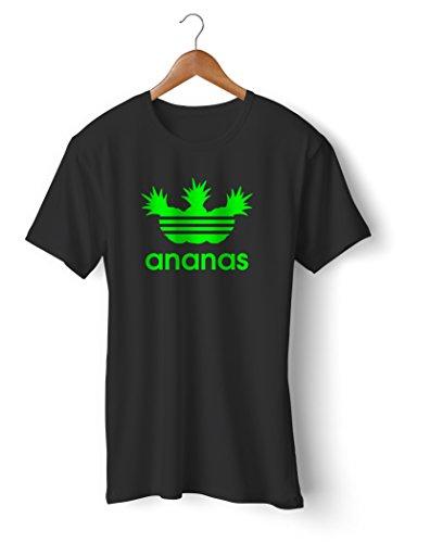 Fashion T-Shirt bedruckt, 190g mit Seitennaht, Fun Druck ananas Schwarz-Neongrün