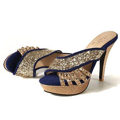 Enochx Donna Sandali Primavera Estate Autunno Club vello scarpe Glitter party di nozze & abito da sera Stiletto Heel Sequin Blu Rosso Nero Black