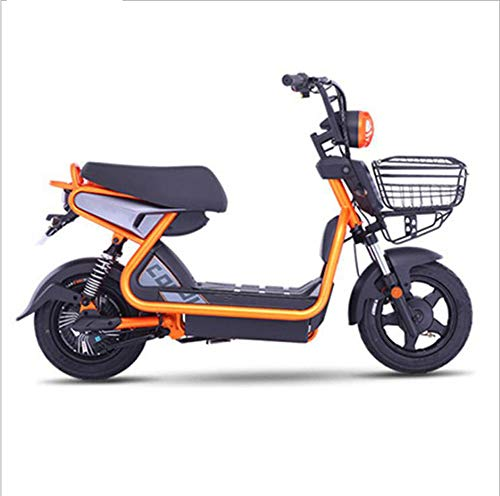 FENGFENGGUO Bicicletta elettrica, 48V Mini Uomini e Donne da Viaggio Power Battery Car LED Evidenziare fari Regolabile Terzo ingranaggio a Prova di Esplosione Pneumatico/Freno di Sicurezza,Orange