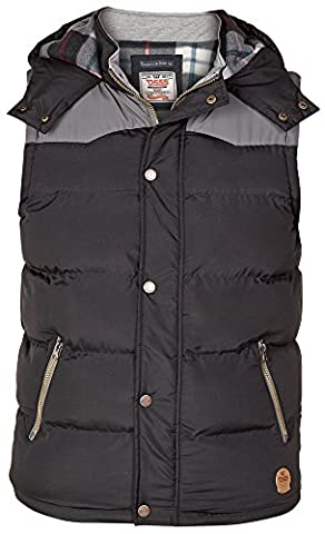 Duke Men's Kingsize Padded Body Warmer Gilet With Hood Fleece Lined-Black-3XL