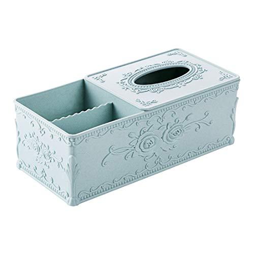 AAPP SHOP Europäischen geschnitzten Tissue Box Wohnzimmer Kaffeetisch Fernbedienung Tablett Home Desktop Serviette Tablett Papier Handtuch Aufbewahrungsboxhellblau