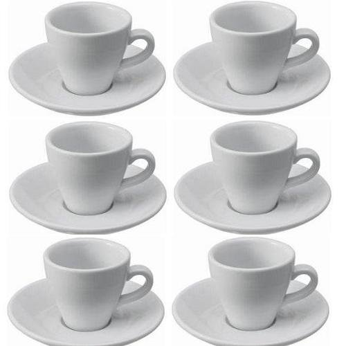 Viva-Haushaltswaren - 6 dickwandige Espressotassen aus weißem Porzellan - 2. Wahl