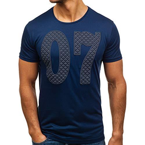 VENMO T-shirt 【M-XXXL Herren Kurzarm T-Shirt O-Ausschnitt Farbsets Tops Pullover MäNner Pulli Tank Kurzärmliges Bluse Slim Fit Lässige Casual Shirt Brief gedruckt Top(Marine,L)
