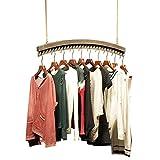LQQ-Garderobenständer Weinlese-Wand-hölzerner Decken-Ausstellungsstand-Kleiderständer-Aufhänger für Bekleidungsgeschäft der Männer und Bekleidungsgeschäft der Frauen für Schlafzimmer Wohnzimmer