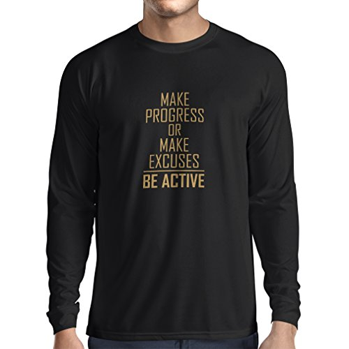 """Langarm Herren t Shirts """"Be Active - Leben ohne Ausreden"""" - Motivation - inspirierend tägliche Angebote für Erfolg (Small Schwarz Gold)"""
