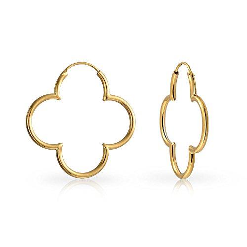 Klee Blume Geformte Dünnen Schlauch Endlos Ohrringe Für Frauen Poliert 14K Vergoldet Sterling Silber 925 1.5 In