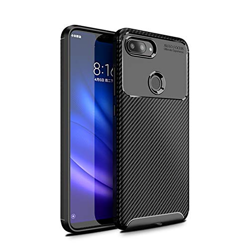 CruzerLite Xiaomi Mi 8 Lite Custodia, Carbon Fiber Texture Design Back Cover Ultra Fit Anti-Scratch Shock Absorption Protective Cover for Xiaomi Mi 8 Lite (Black)