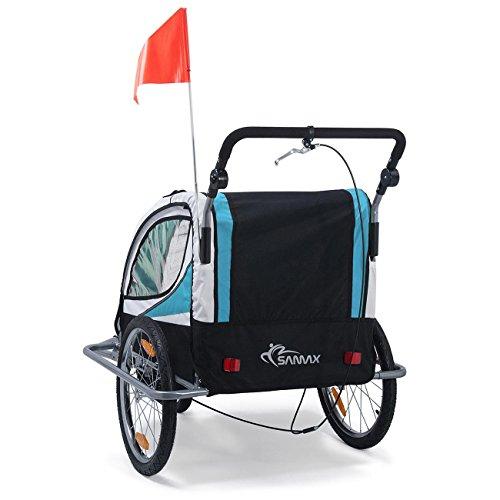 SAMAX Fahrradanhänger Jogger 2in1 360° drehbar Kinderanhänger Kinderfahrradanhänger Transportwagen vollgefederte Hinterachse für 2 Kinder in Blau - Silver Frame - 4