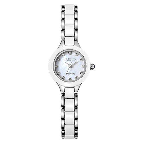 Mode-Keramik Damen Uhr Quarz Armbanduhr wasserdicht Mädchen Tabelle , platinum