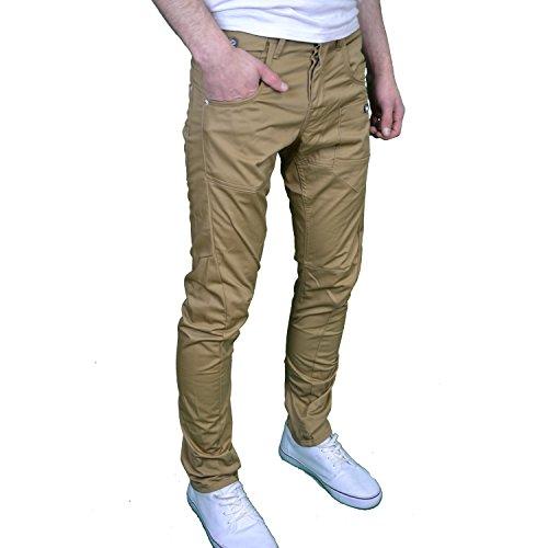 Crosshatch Herren Designer Leg-Twisted Chino Tapered, Regular Fit Jeans Hautfarben