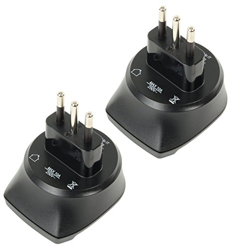 ANSMANN Reiseadapter EU to IT / Schuko Reisestecker mit Schutzklasse 1 & 2 / Idealer Stecker für Reisen nach Italien Albanien Äthiopien Chile Syrien Malediven San Marino etc. / 2er Pack