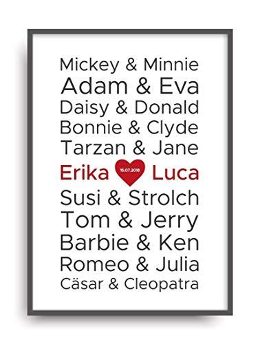 Kunstdruck Fine Art LIEBE 1 berühmte Paare Geschenk moderne Vintage Poster Print Plakat Deko Bild ohne Rahmen DIN A4 personalisiert -