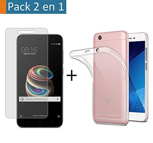"""(Pack 2 En 1) Funda Gel Transparente + Protector Cristal Templado para Xiaomi Redmi 5A 5"""""""