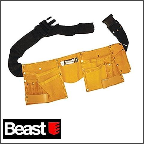 Cinturón portaherramientas de piel con 11bolsillos