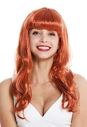 Wig me up ® - 90649-za130 parrucca donna carnevale lunga rosso frangetta burlesque anni 50 pin-up star femme fatale
