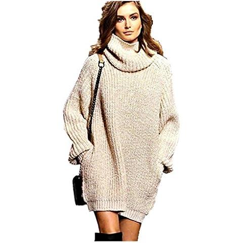 ZEARO Vestidos para Mujer de Jerseys de Punto Casual Suelto Suéter de Punto Alta Cuello Plus Size