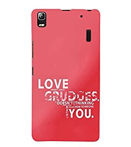 99Sublimation Love and Grudge Quotes 3D Hard Polycarbonate Back Case Cover for Lenovo A7000, Lenovo A7000 Plus, Lenovo K3 Note