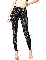 Pantalones Ajustados para Mujeres, Pantalones de Deporte con Estampado geométrico, Pantalones Deportivos de Leggings, Pantalones de Yoga elásticos de Alta Resistencia (Negro)