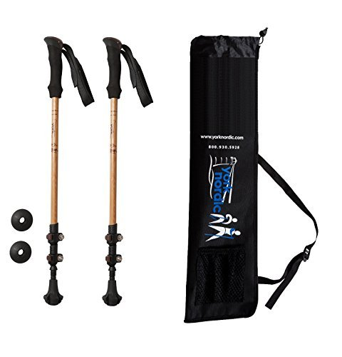 Carbon-faser-stöcke (York Nordic Bambus & Carbon Faser-Walking-Stöcken-2Pack-6,8oz Ultralight & klappbar Wandern Polen-Flip, Komfort Griff, Tungsten Tipps)