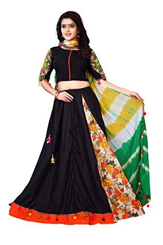 J B Fashion Women's Pure Cotton with Bhagalpuri print Black color Lehenga...