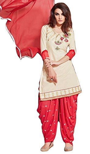 Shalibhadra white color top with red color duppata and red color salwar cotton unstitched fully heavy Embroidered work patiala suit pataliya dress material for women
