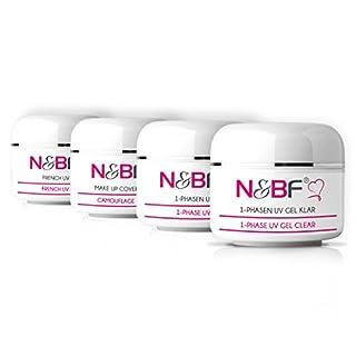 N&BF Probe Set (4x5ml) – 1-Phasen Gel klar/pink – Make-Up Cover-Gel – French White – Spar-Set – Vorteils-Set – UV Gel Probierset für Nageldesign/Gelnägel (20ml, Probe Set 3)